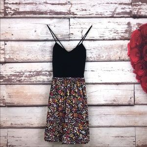 Pink black and floral fit flare strappy dress